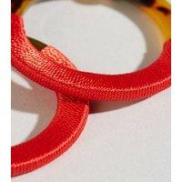 Red Wrapped Faux Tortoiseshell Hoop Earrings New Look