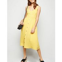 Yellow Linen Look Button Front Midi Dress New Look
