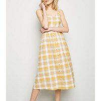 Yellow Check Linen-Blend Button Midi Dress New Look