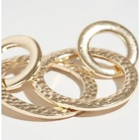 Gold Linked Hammered Ring Earrings New Look