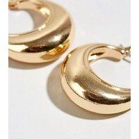 Gold Mini Wide Hoop Earrings New Look