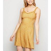 Mustard Floral Print Frill Trim Sundress New Look