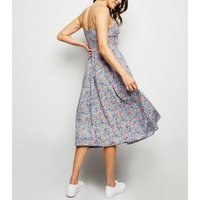 Lilac Floral Lace Up Front Midi Dress New Look