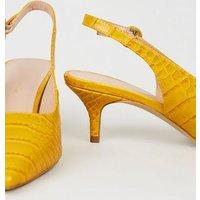 Wide Fit Yellow Faux Croc Kitten Heel Slingbacks New Look