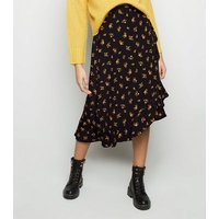 Black Ditsy Floral Frill Wrap Midi Skirt New Look