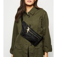 Black High Shine Utility Zip Bum Bag New Look