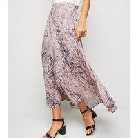 Pink Snake Print Pleated Midi Skirt New Look