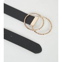 Black Leather-Look Hammered Double Ring Belt New Look