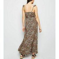 Brown Leopard Print Button Front Maxi Dress New Look