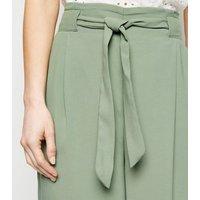 Petite Mint Green Tie Waist Crop Trousers New Look