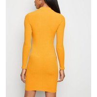 Mustard High Neck Ribbed Bodycon Dress New Look