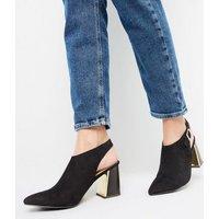 Black Flare Metal Heel Shoe Boots New Look