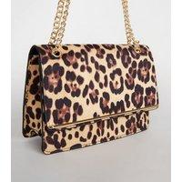 Brown Leopard Print Chain Strap Shoulder Bag New Look