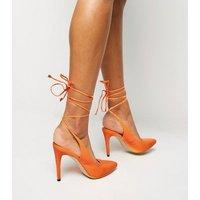 Bright Orange Neon Wrap Tie Heels New Look