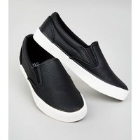 Girls Black Faux Snake Slip On Trainers New Look