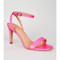 Wide Fit Bright Pink Patent 2 Part Heeled Sandals New Look