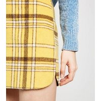 Cameo Rose Yellow Check Brushed Skirt New Look