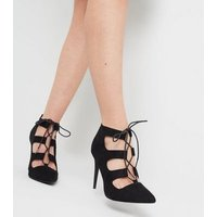 Black Suedette Lace Up Ghillie Stiletto Heels New Look