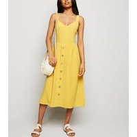 Petite Yellow Linen Look Button Front Midi Dress New Look