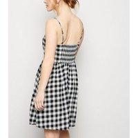 Petite Black Check Lace Up Mini Dress New Look