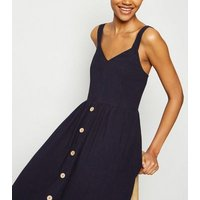 Tall Navy Linen Look Button Front Midi Dress New Look