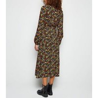 Tall Black Ditsy Floral Long Sleeve Button Midi Dress New Look