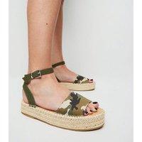 Green Camo Espadrille Flatform Sandals New Look