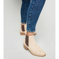 Wide Fit Camel Suedette Chelsea Boots New Look