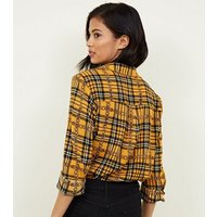 Cameo Rose Yellow Chain And Check Print Shirt New Look