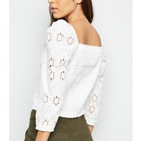 White Cut Out Embroidered Shirred Back Top New Look