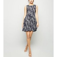 Blue Vanilla Navy Paisley Skater Dress New Look