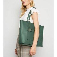 Dark Green Leather-Look Tote Bag New Look