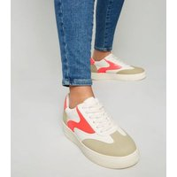White Neon Panel Lace Up Flatform Trainers New Look