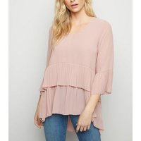 Mela Pale Pink Pleated Tunic Top New Look