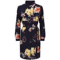 Mela Navy Floral Shirt Dress New Look