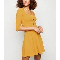 Mustard Button Front Square Neck Skater Dress New Look