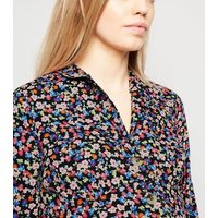 Maternity Black Floral Button Up Tea Dress New Look
