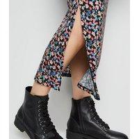 Maternity Black Floral Side Split Midi Skirt New Look