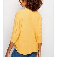 Mustard V Neck Fine Knit Top New Look