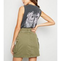 Khaki Utility Pocket Belted Denim Skirt New Look