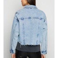 Blue Acid Wash Fray Hem Denim Jacket New Look