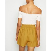 Tall Mustard Twill Paperbag Shorts New Look