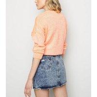 Blue Ripped Acid Wash Denim Skirt New Look