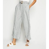Tall Off White Stripe Linen Blend Belted Trousers New Look