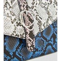 Blue Faux Snake Colour Block Shoulder Bag New Look Vegan