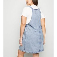 Curves Pale Blue Acid Wash Denim Pinafore Dress New Look