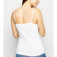 Off White Lace Trim V Neck Cami New Look