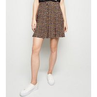 Tall Black Ditsy Floral Button Up Skirt New Look
