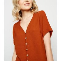 Rust Button Through Boxy Shirt New Look
