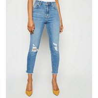 Petite Blue Lift and Shape High Rise Ripped Jeans New Look